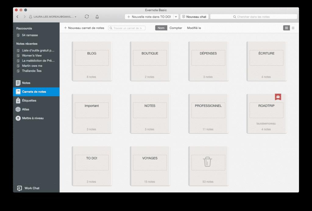 Logiciel gestion de projet : Écran d'accueil de mes carnets de notes (Evernote sur Mac)