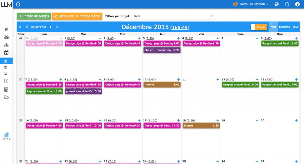 Nutcache et le suivi du temps sous forme de calendrier