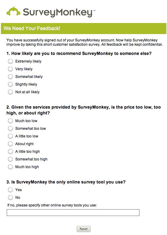 Plateforme de sondage de satisfaction client: Survey Monkey