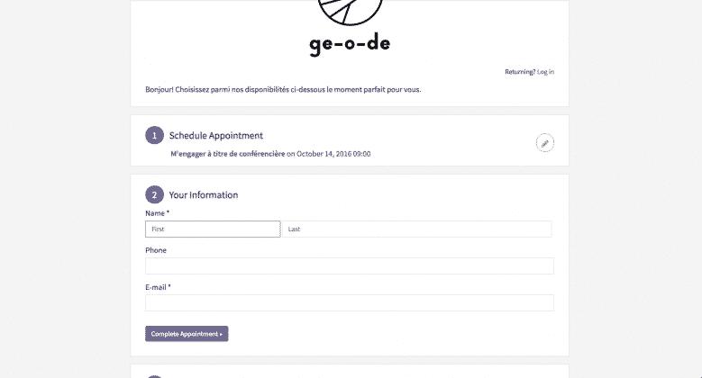 Votre client n'a qu'à entrer ses informations de contact, ou se connecter s'il est déjà passé par Acuity Scheduling