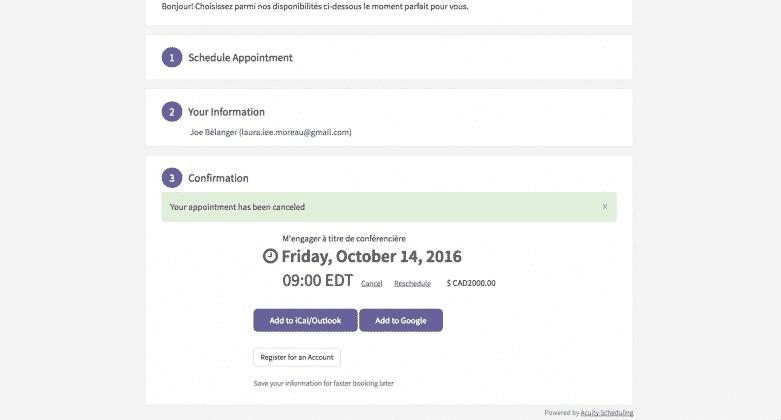 Acuity Scheduling affichera ensuite les détails de la réservation