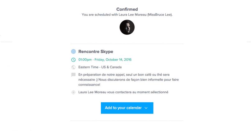 Une fois le rendez-vous réservé, le client voit ce message de confirmation, lui rappelant la date, l'heure et ses réponses laissées.
