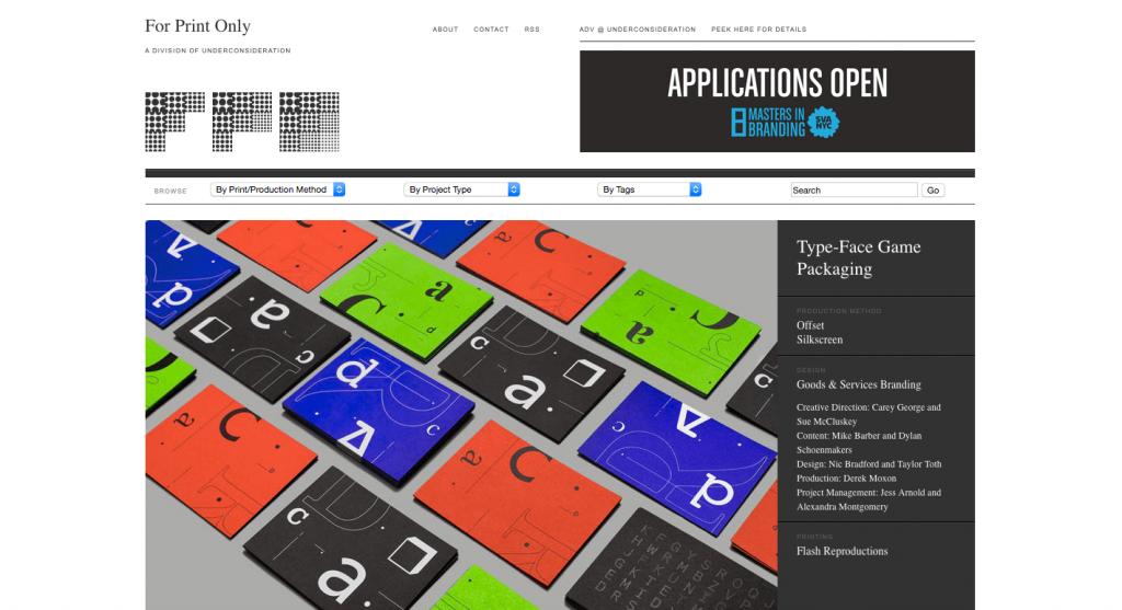 FPO (For Print Only) est le deuxième blog, du designer derrière Under Consideration.