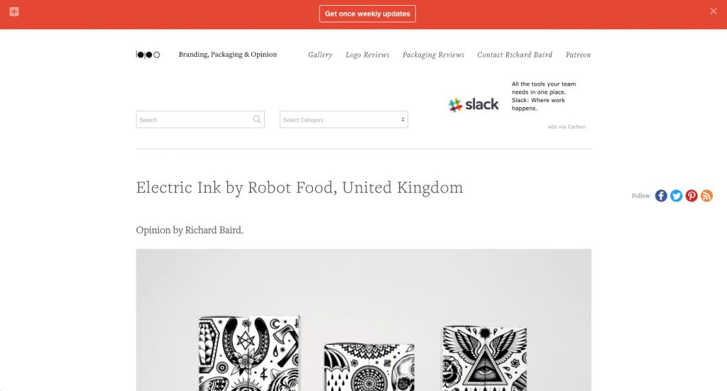Principalement axé sur l'image de marque et le design d'emballage, le blog du designer anglais Richard Baird est sûr de plaire.