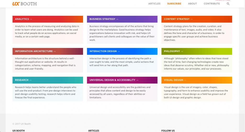 Une référence web pour de l'information fiable et à jour sur différents sujets touchants le UX.