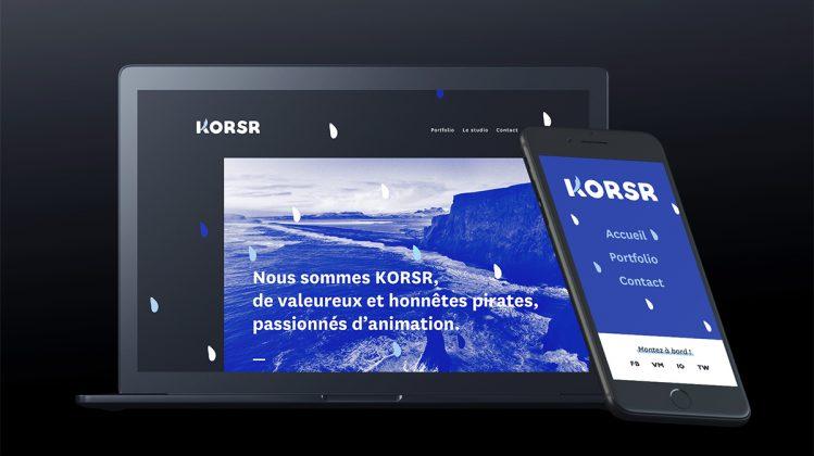 Design web et identité visuelle pour KORSR, studio d'animation à Montréal, réalisé par ge-o-de Studio