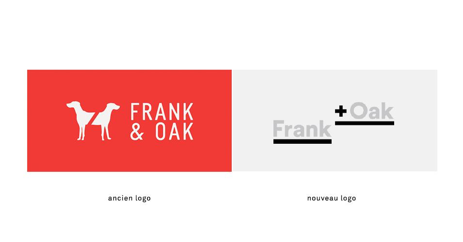 Frank + Oak, avant et après le redesign de leur identité visuelle