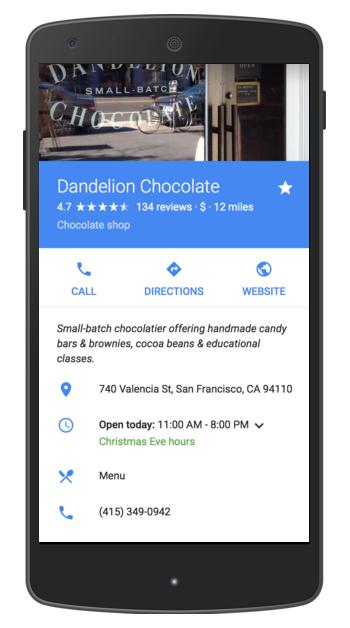 Google Search et Google pour entreprise sur mobile