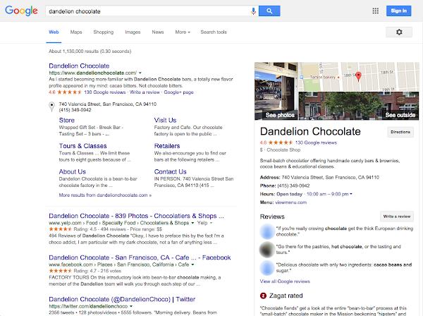 Fiche Google Maps entreprise dans les résultats de recherche Google