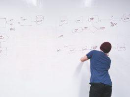 Homme qui fait un plan sur un whiteboard : Comment vendre ses produits et services en ligne