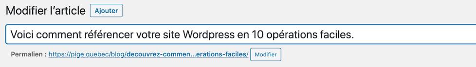 Exemple de permalien pour référencement sa page WordPress