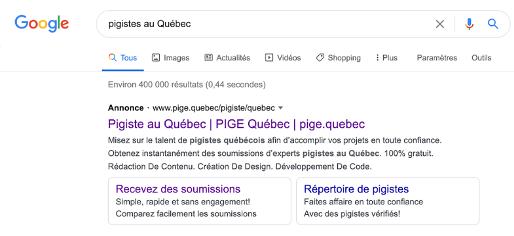 Exemple d'une publicité sur Google