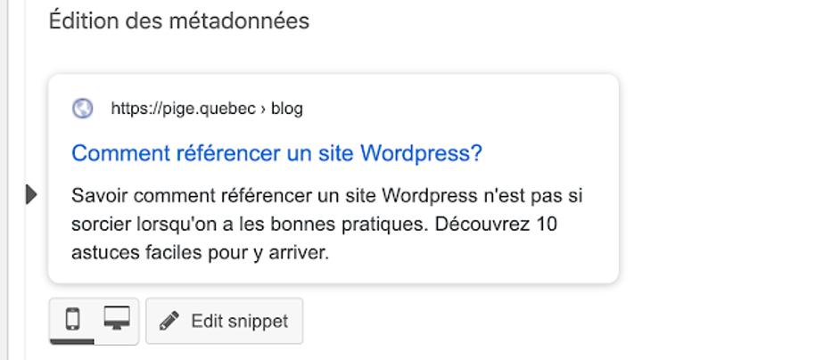 Balise Meta utilisée pour référencer page WordPress