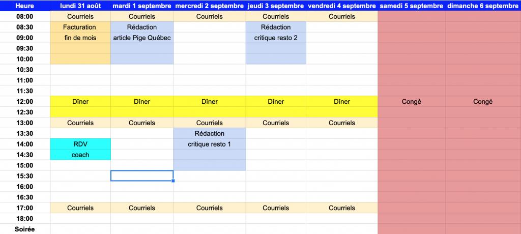 Gestion d'horaire et du temps pour pme et travailleur autonome / pigiste